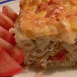 Makaronų apkepas su moliūgu ir pomidorais