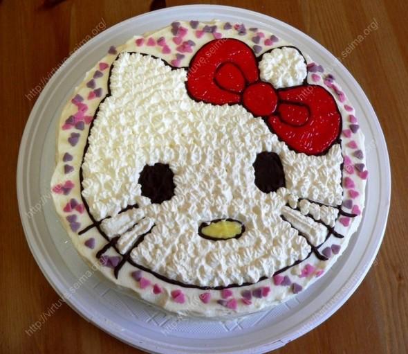 """Migdolinis tortas su maskarpone """"Hello Kitty"""""""