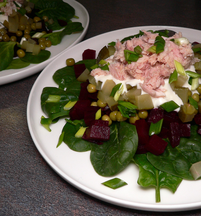 Beet and tuna salads