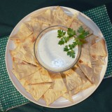 Lavash chips with blue cheese sauce