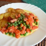 Braised green peas with carrots