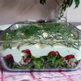 Layered salads with minced meat