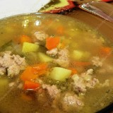 Minced meat soup with pickled cucumbers