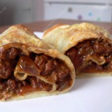 Crepes rolls with minced meat