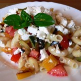 Warm pasta salads with feta