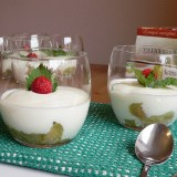 Cream cheese dessert with rhubarbs