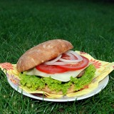 Home-made burger with Havarti cheese