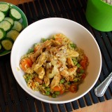 Turkey and rice stew with carrots and green peas