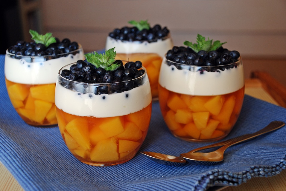 Peach and blueberry dessert